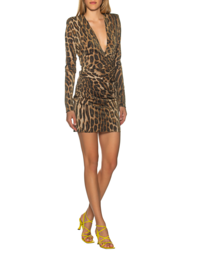 ALEXANDRE VAUTHIER Mini V-Neck Leo Brown