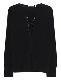 THE MERCER N.Y. Lace Up Cashmere Black
