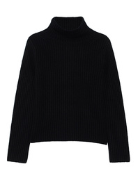 (THE MERCER) N.Y. Stand Up Collar Ribbed Cashmere Black