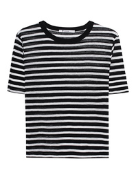 T BY ALEXANDER WANG Cropped Stripe Linen Tee Black