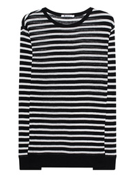 T BY ALEXANDER WANG Stripe Linen Long Tee Black
