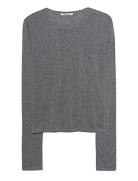 T BY ALEXANDER WANG New Classic Cropped Long Sleeve Grey