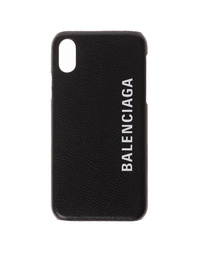 BALENCIAGA iPhone X Logo Leather Black