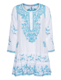 Juliet Dunn Embroidered Pleat Mini Turquoise White
