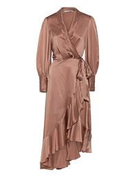 ZIMMERMANN Silk Wrap Dress Nude