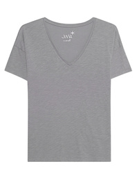 JUVIA Basic V-Neck Shirt Grey