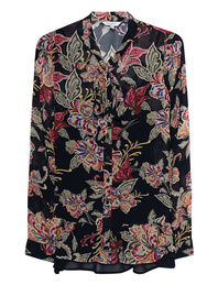 FROGBOX Black Flower Blouse Multicolor
