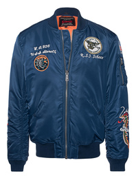 Schott NYC Patches Bomber Brode Navy