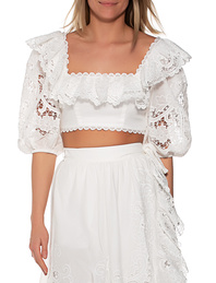 ZIMMERMANN LULU SCALLOP FRILL TOP Off White