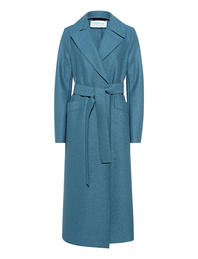HARRIS WHARF LONDON Long Maxi Coat Pressed Wool Dusty Blue