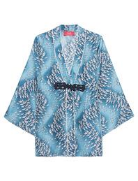 For Restless Sleepers Kimono Crane Blue