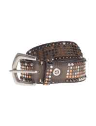 B.Belt Leather Stud Bronze Taupe