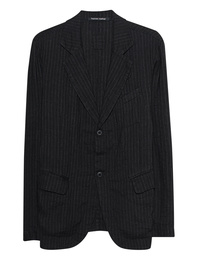 HANNES ROETHER Pinstripes Linen Black