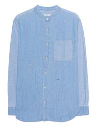 CLOSED Loose Collarless Shirt Blue