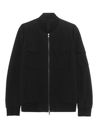HARRIS WHARF LONDON Bomber Patch Coolmax Seersucker Black
