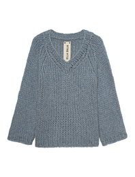 ELLA SILLA V Neck Cashmere Denim Blue