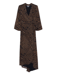 Ganni Georgette Tiger Wrap Black Brown