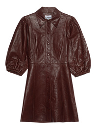 Ganni Leather Puffed Sleeve Chocolate