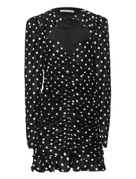 Alessandra Rich Polka Dot Ruched Mini Black