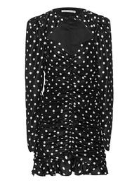 Alessandra Rich Polka Dot Ruched Mini Black