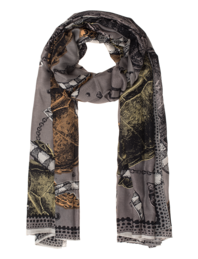 FRIENDLY HUNTING Square Print Turtle Taupe Grey