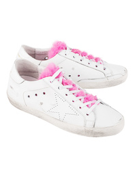 GOLDEN GOOSE DELUXE BRAND Superstar White Leather Fuxia Fur
