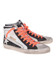 GOLDEN GOOSE DELUXE BRAND Slide Neon Lacing White Black