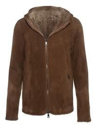 GIORGIO BRATO Lamb Fur Hoody Brown