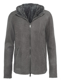 GIORGIO BRATO Lamb Fur Hoody Light Grey