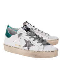 GOLDEN GOOSE DELUXE BRAND Hi Star Glitter Green White