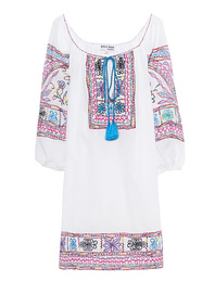 JULIET DUNN Embroidered Boho White/Blue Multi