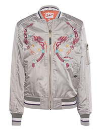 Schott NYC Bomber Embroidery Light Beige