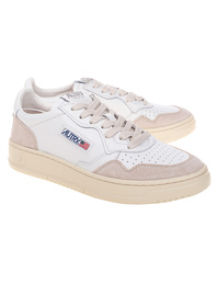 Autry 01 Low Leather Suede Beige White