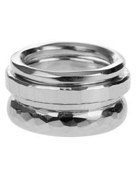 WERKSTATT MÜNCHEN 4 Ring Combination Hammered Silver