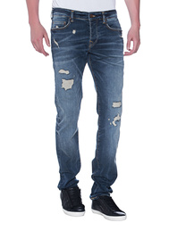 TRUE RELIGION Rocco Destroyed Superstretch Blue Denim