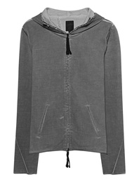 THOM KROM Zip Up Hoodie Rib Grey Oil