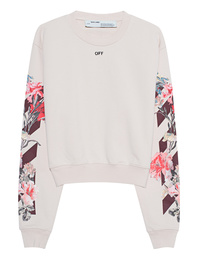 OFF-WHITE C/O VIRGIL ABLOH Sweater Crop Flower Print Beige