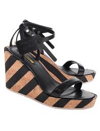 OFF-WHITE C/O VIRGIL ABLOH Wedge Striped Sandal Black