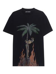 Palm Angels Burning Skeleton Shirt Black