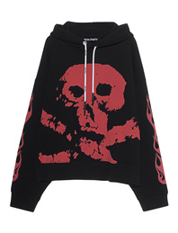 Palm Angels Hoodie Skull and Flames Black