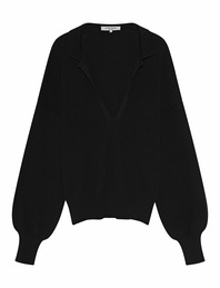BY AYLIN KOENIG Rapha V Neck Collar Black
