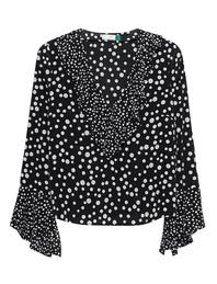 RIXO LONDON Jane Ruffle Spots Black White