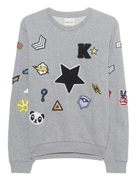 KENGSTAR Sweater Patches Gray Melange