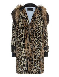 DSQUARED2 Fur Leather Denim Leo