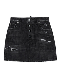 DSQUARED2 Denim Destroyed Button Black