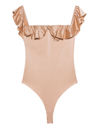 FOR LOVE AND LEMONS Off Shoulder Virgo Ruffle Rose Gold