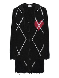 RED VALENTINO Check Hood Knit Black