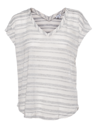 SPLENDID Marina Eyelet Stripe Light Grey