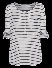 SPLENDID Speckled Melange Stripe Henely Heather Black White