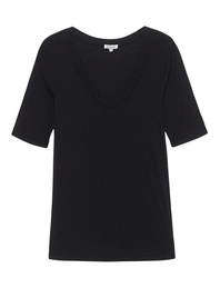 SPLENDID One and One 3/4 Sleeve V-Neck Black
